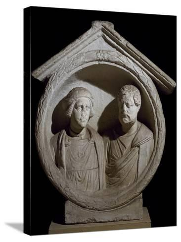 Funeral Medallion with Portrait of Married Couple from Virunum, Magdalensberg, Austria--Stretched Canvas Print