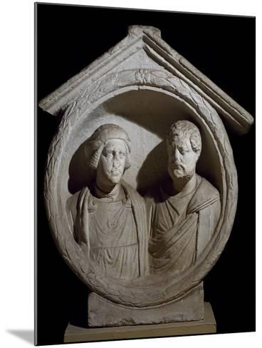 Funeral Medallion with Portrait of Married Couple from Virunum, Magdalensberg, Austria--Mounted Giclee Print