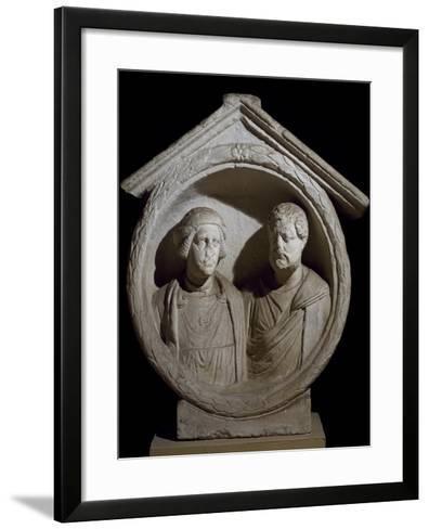 Funeral Medallion with Portrait of Married Couple from Virunum, Magdalensberg, Austria--Framed Art Print