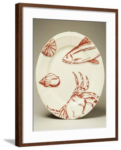 Ocean Plate Rouge, Ceramic, Manufacturing Gien, Centre--Framed Art Print