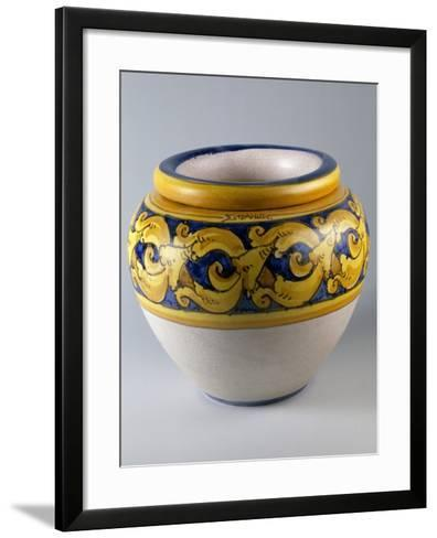 Cachepot Decorated with Loose Looped Braiding and Crackle Glazing--Framed Art Print