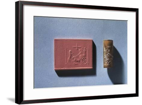 Agate Cylinder Seal of Darius I Depicting King Hunting Lion from Chariot and God Ahura Mazda--Framed Art Print