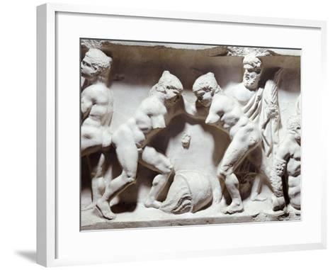 Relief Depicting Gym Scene--Framed Art Print