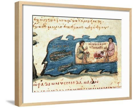 Miniature of a 14th Century Hunting and Fishing Treaty--Framed Art Print