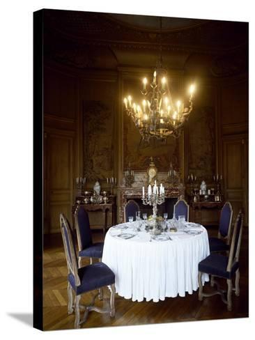 France, Chateau De Saint-Fargeau, Dining Room--Stretched Canvas Print