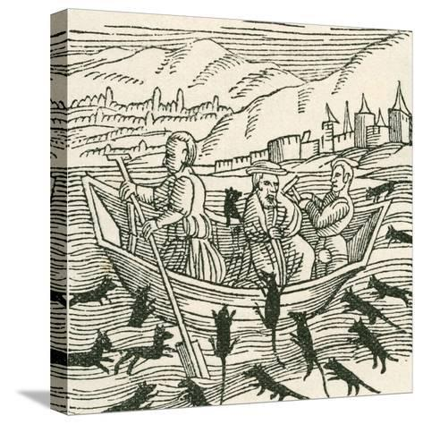 Illustration Depicting the 10th Century Folk Tale of Hatto, Who Was the Archbishop of Mainz--Stretched Canvas Print