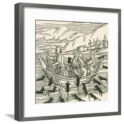 Illustration Depicting the 10th Century Folk Tale of Hatto, Who Was the Archbishop of Mainz--Framed Art Print