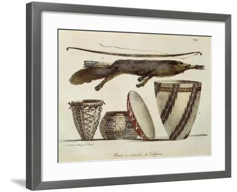 Weapons and Various Implements Used by the Indians in California, 1822--Framed Art Print