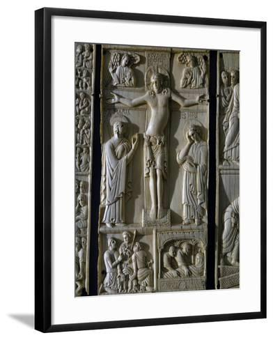 Jesus Crucified, Ivory Tablet, Part of Series Dedicated to Old and New Testament, Italy--Framed Art Print