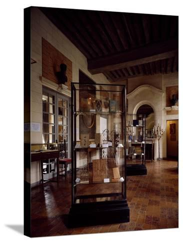 France, Chateau De Beaumesnil, Antique Dining Room Housed in Bookbinding Museum--Stretched Canvas Print