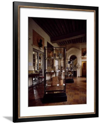 France, Chateau De Beaumesnil, Antique Dining Room Housed in Bookbinding Museum--Framed Art Print