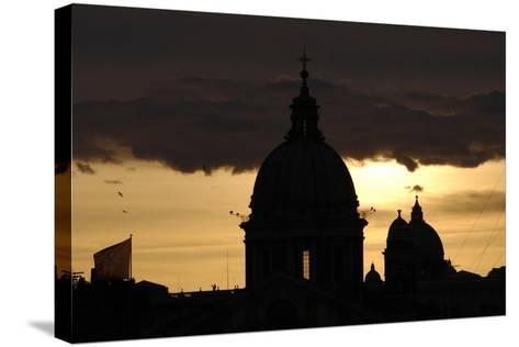 Basilica of Carlo Al Corso at Sunset--Stretched Canvas Print