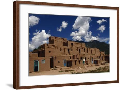 United States, Taos Pueblo, Adobe Buildings--Framed Art Print
