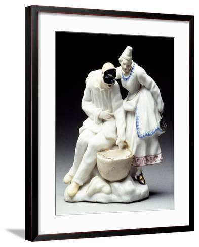 Columbine and Pulcinalla Eating Macaroni, 1745--Framed Art Print