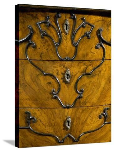Keyholes and Decoration of Drawers from Rococo Style Lombard Trumeau Cabinet--Stretched Canvas Print