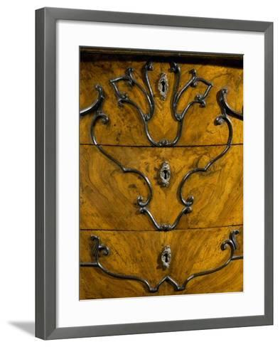 Keyholes and Decoration of Drawers from Rococo Style Lombard Trumeau Cabinet--Framed Art Print