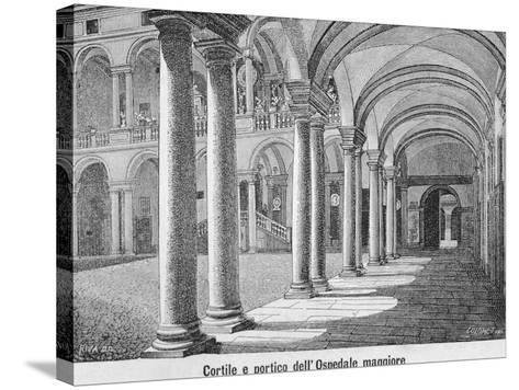 Courtyard and Portico of Maggiore Hospital of Novara, 1877--Stretched Canvas Print
