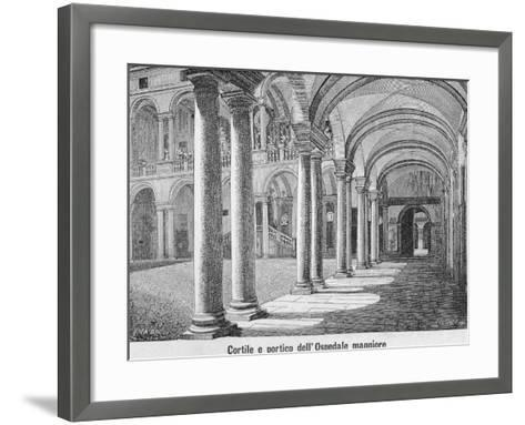 Courtyard and Portico of Maggiore Hospital of Novara, 1877--Framed Art Print