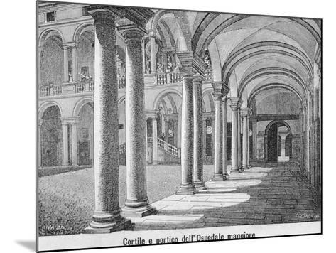 Courtyard and Portico of Maggiore Hospital of Novara, 1877--Mounted Giclee Print