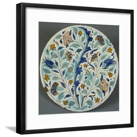 Plate with Polychrome Floral Decoration, Candiana Majolica, Veneto, Italy--Framed Art Print