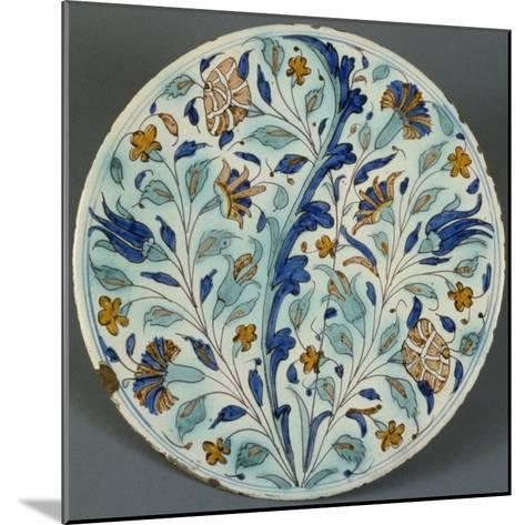 Plate with Polychrome Floral Decoration, Candiana Majolica, Veneto, Italy--Mounted Giclee Print