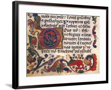 Illuminated Page from Book of Hours, Manuscript, Detail--Framed Art Print