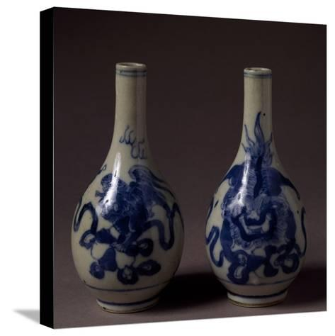 Small Underglaze Blue Decorated Vases, Ceramic, China, Qing Dynasty, Chien Lung Reign--Stretched Canvas Print