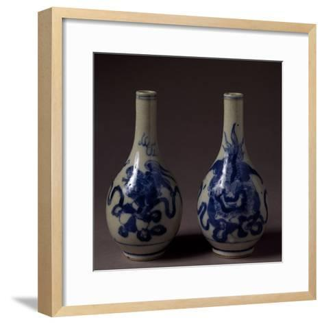 Small Underglaze Blue Decorated Vases, Ceramic, China, Qing Dynasty, Chien Lung Reign--Framed Art Print