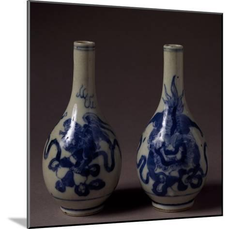 Small Underglaze Blue Decorated Vases, Ceramic, China, Qing Dynasty, Chien Lung Reign--Mounted Giclee Print