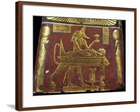 Anubis in Throes of Performing Ritual of Embalming, Decorative Detail of Male Funeral Mask--Framed Art Print
