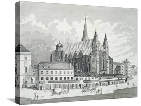 The Cathedral Square in Vienna, 1780, Austria Engraving--Stretched Canvas Print