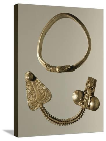 Silver Celtic-Illyrian Necklace and Fibula from Curug, Serbia B.C.--Stretched Canvas Print