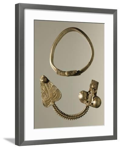 Silver Celtic-Illyrian Necklace and Fibula from Curug, Serbia B.C.--Framed Art Print