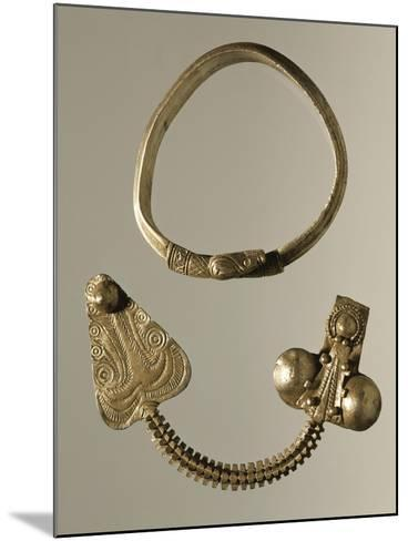 Silver Celtic-Illyrian Necklace and Fibula from Curug, Serbia B.C.--Mounted Giclee Print