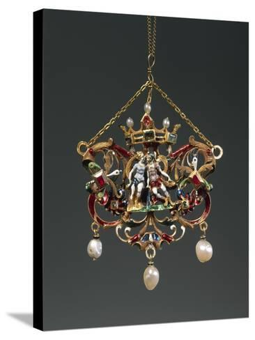 Enameled Gold Pendant Depicting Venus and Mars, Set with Pearls, Rubies and Emeralds--Stretched Canvas Print