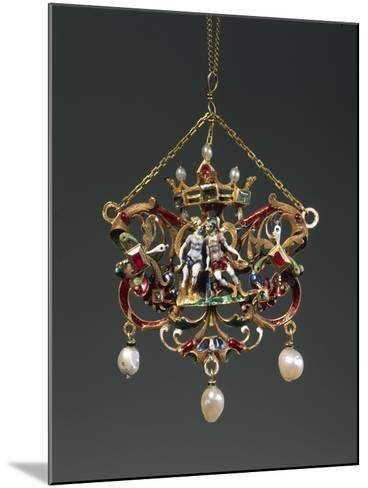 Enameled Gold Pendant Depicting Venus and Mars, Set with Pearls, Rubies and Emeralds--Mounted Giclee Print
