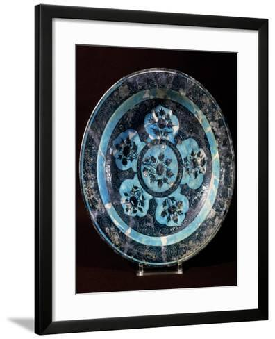 Plate Decorated with Floral Motifs, Ceramic, Mongol and Timurid Period, Persia--Framed Art Print