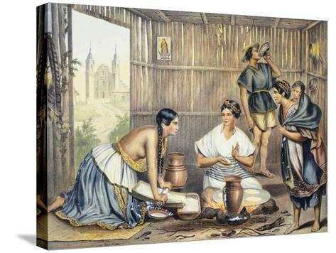 Mexico, Mexicans Preparing Tortillas--Stretched Canvas Print