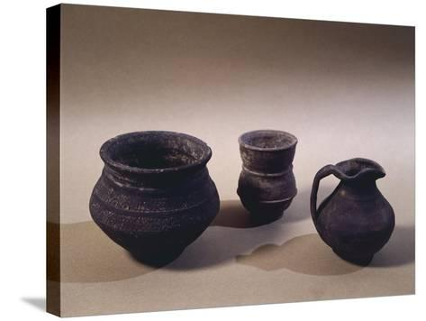 6th Century Terracotta Jug, Drinking Cup and Vase, from Oise Region--Stretched Canvas Print