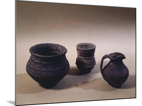 6th Century Terracotta Jug, Drinking Cup and Vase, from Oise Region--Mounted Giclee Print