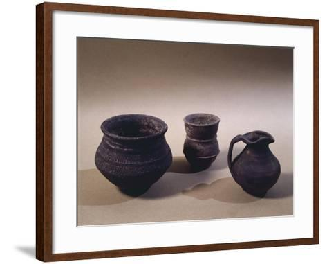 6th Century Terracotta Jug, Drinking Cup and Vase, from Oise Region--Framed Art Print