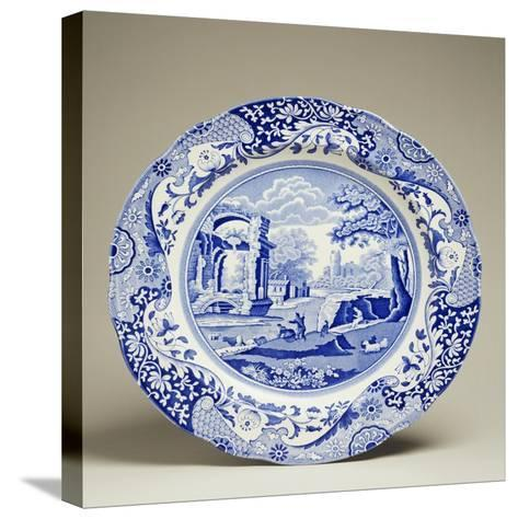 Plate Decorated with Landscape, Ceramic--Stretched Canvas Print