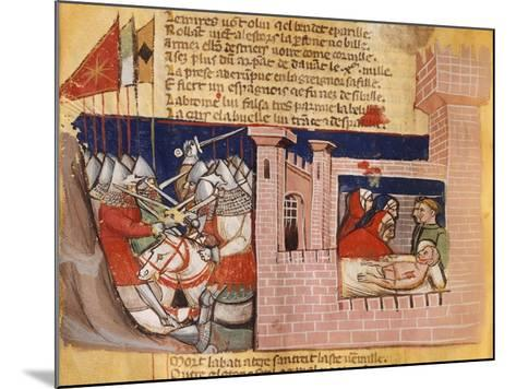 Battle Raging Outside a Fortress While Inside They Try to Treat the Wounded--Mounted Giclee Print
