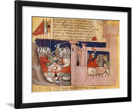 Battle Raging Outside a Fortress While Inside They Try to Treat the Wounded--Framed Art Print