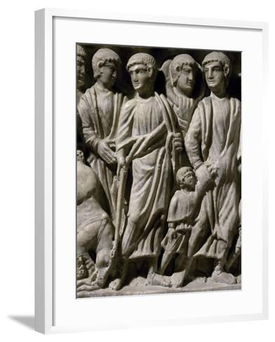 Depiction of Moses, Detail from Front End of Sarcophagus Depicting Exodus from Egypt--Framed Art Print