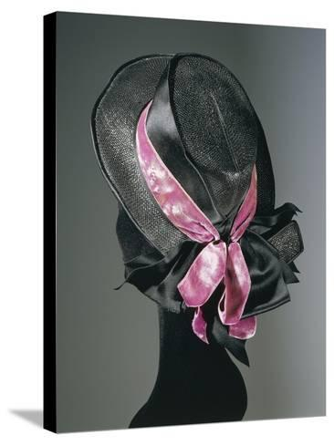 Women's Black Florence Straw Hat with Pink Satin and Velvet Double Ribbon, Early 1900--Stretched Canvas Print