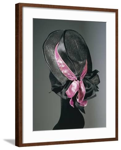 Women's Black Florence Straw Hat with Pink Satin and Velvet Double Ribbon, Early 1900--Framed Art Print