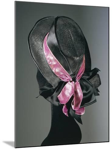 Women's Black Florence Straw Hat with Pink Satin and Velvet Double Ribbon, Early 1900--Mounted Giclee Print