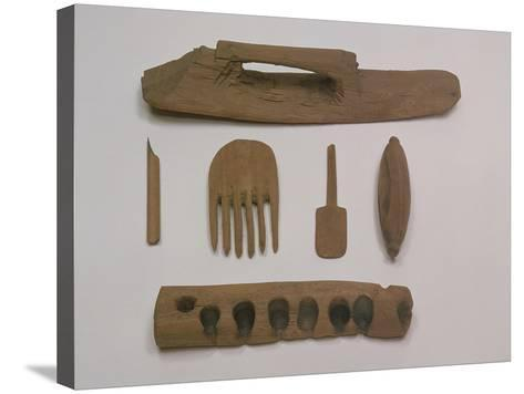 Indian: Wooden Tools and Implements, Mazar Tagh, Tunhuang, Mazar Toghrak, Ying Pan and Niya--Stretched Canvas Print