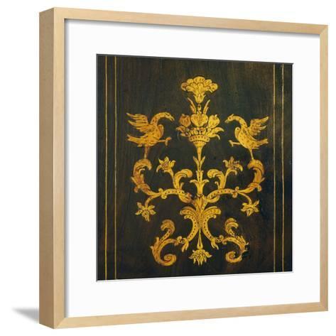 Inlay, Detail from Walnut Tallboy, Spain--Framed Art Print